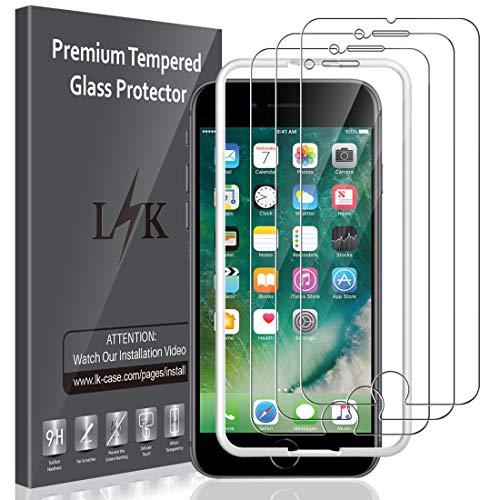 LK [3 Stück Schutzfolie kompatibel mit iPhone 8 Plus und iPhone 7 Plus Panzerglas, 5.5 Zoll,9H Härte [Führungsrahmen] [Bubble Free] HD Klar Glas Displayschutz [Lebenslanger Ersatz Garantie]