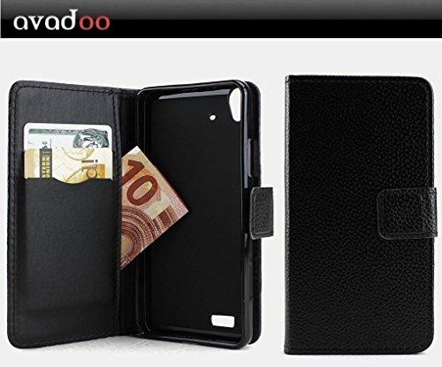 avadoo® Medion Life X5001 Flip Case Cover Tasche Schwarz mit Magnetverschluss und Dualnaht als Cover Tasche Hülle