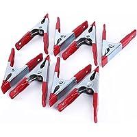 AKORD ho-62STRONG Plastic Spring Clamps Clips de/stand soporte para tamaño grande lona, Plateado/Rojo, 8x 10cm, Set de 8piezas