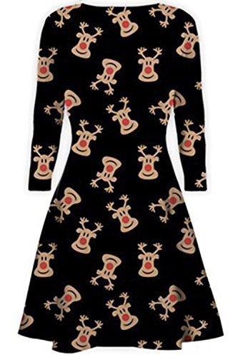 Womens Christmas Swing Dress Ladies Xmas Santa Rudolph Olaf Gift Present Snowman M/l (UK 12/14) Red Nose Reindeer Black