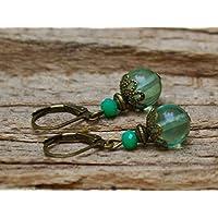 Vintage Ohrringe mit Green Watermelon Quarz & Glasperlen - grün & bronze