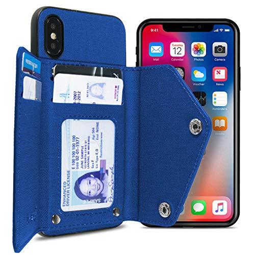 CoverON [Pocket Pouch Serie] iPhone XS Max Wallet Case Schutzhülle aus Stoff mit Kreditkartenfächern für Apple iPhone XS Max (6,5 Zoll) / 10S Max, Marineblau (4 Case Frauen Wallet Iphone)