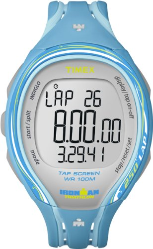 Timex Ironman Sleek 250 LAP T5K590 - Reloj digital de cuarzo para mujer, correa de plástico color azul