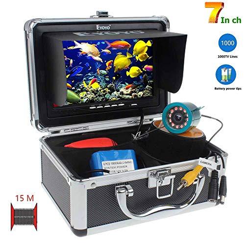 SEXTT Tragbarer Fischsucher, HD 1000 Linie 7 Zoll 15 Meter Infrarotweißes Licht sichtbares Fischen Fischdetektor IP68 wasserdichte 12 LED Unterwasserfischerkamera (Wasserdichte Kajak Lichter)