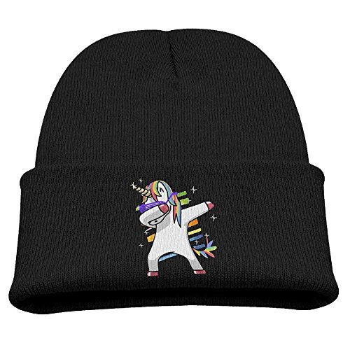 fboylovefor Rainbow Dabbing Unicorn Kid's Hats Winter Funny Soft Knit Beanie Cap, Unisex