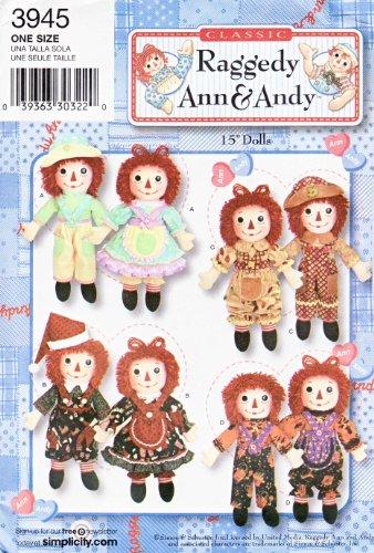 Raggedy Ann-kleidung (Simplicity Schnittmuster 3945Raggedy Ann & Andy 38,1cm Puppen und Kleidung)