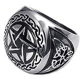 KONOV Schmuck Biker Herren-Ring, Schwere Edelstahl, Pentagramm Amulett Siegelring, Schwarz Silber - Gr. 65