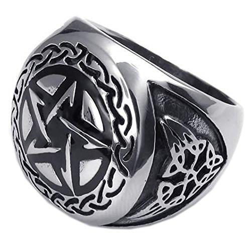 KONOV-Gioielli-Anello-da-Uomo-Anelli-Pentagramma-Acciaio-Inossidabile-Nero-Argento-con-Borsa-Regalo