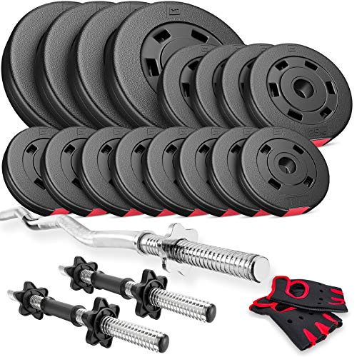 Hop-Sport Hantelset 48,5 kg, 1x SZ Stange, 2X Kurzhanteln, Hantelscheiben 4x5kg/4x2,5kg/8x1,25kg