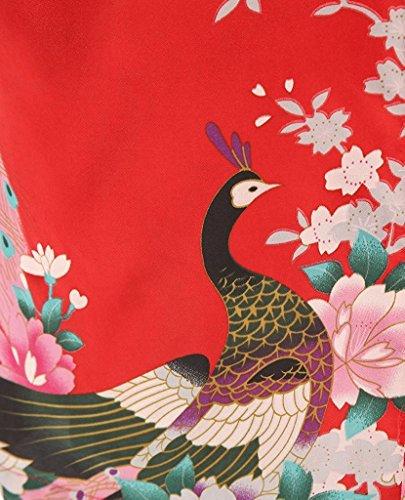 VERNASSA Damen Pfau Robes Silk Satin Flora Lange Nachtwäsche, Batwing Ärmel Kimono Nachthemd, Pyjamas Lingerie Dessous set für Hochzeitsfeier Geschenk, Übergröße & Mehrfarbig Red-200