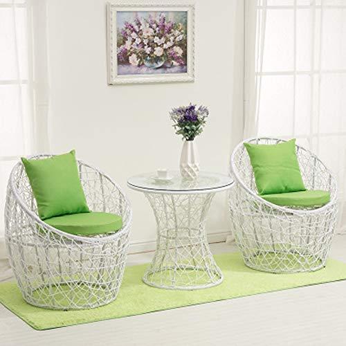 MMWYC 3 Stück Patio-Rattan-Bistro-Sets, wetterfeste Gartenmöbel-Set mit rostfreien Stahlrahmen, Mehrfarbentisch und Stühle / 30,3 x 25,6 Zoll / 23,6x23,6 Zoll (Color : A8) -