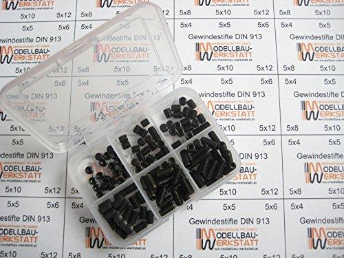 120 Stück Gewindestifte Set M5 x 4 5 6 8 10 12 mm DIN 913 45H mit Kegelkuppe Wurmschrauben Madenschrauben Stiftschrauben Sortiment