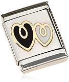 Nomination Damen-Charm Composable BIG Doppeltes Herz 18K Gold Edelstahl teilvergoldet Emaille - 032245/01