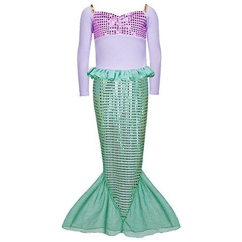 Daxiang, costume autunnale da principessa sirena, maniche lunghe, vestito di Halloween per bambine verde Green (6-7 Anni)