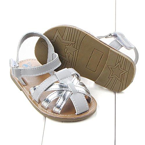 Pour 0-18 mois Bébé,Transer ® Joli bébé fille garçon doux cuir sandales Argent