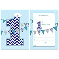 First Birthday Party Invitations - Boys Nautical theme with bunting - 24 x A6 postcard size cards