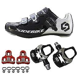 SIDEBIKE Fahrradschuhe für Erwachsene mit Pedalen & Pedalplatten, Verstellbare Rennradschuhe, Anti Vibrations Dämpfung Radfahren Schuhe mit Atmungsaktiven Nylon Mesh (44, Schwarz)