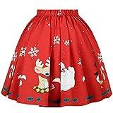MORCHAN ❤ Cadeaux de noël Femme Jupe de Noël Sexy Jupe Santa Imprimée Flocon De Neige(S,Rouge)