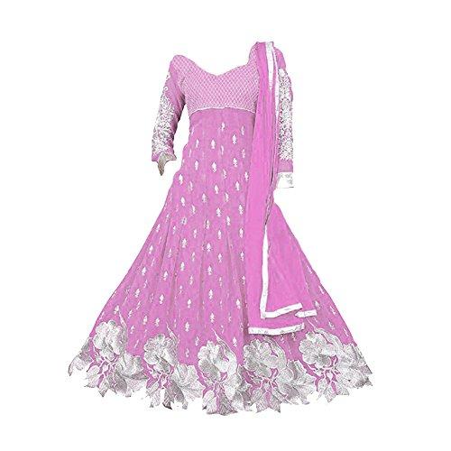 S R Fashion Girls Baby Pink Cut Work Salwar Suit (PA_105_Semi Stitched_Pink_Anarkali Dress_With_Dupatta _8-11 Years Girl)