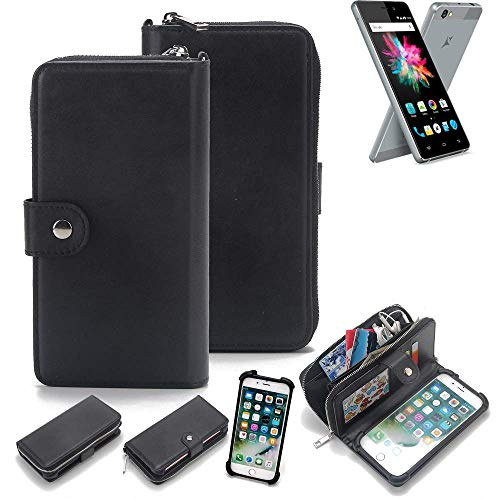 K-S-Trade 2in1 Handyhülle für Allview X3 Soul Mini Schutzhülle & Portemonnee Schutzhülle Tasche Handytasche Case Etui Geldbörse Wallet Bookstyle Hülle schwarz (1x)