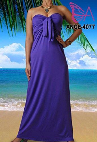 Angela, Damen Leuchtend Leuchtend Bandeau Trägerlos Knoten Maxi Urlaub Sommer Block Farben Kleid Lila 2
