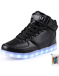 AFFINEST Unisexe chaussures enfant High Top LED chaussures clignotant chaussures de sport pour les enfants