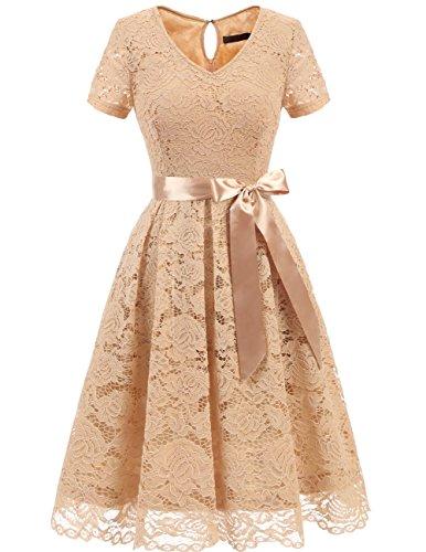 Dresstells Damen Spitzenkleid Herzform Elegant Cocktail Abendkleid Champagne 3XL