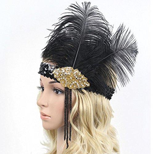 Kongnijiwa Schmuck Serie Frauen-Strauß-Feder-Kostüm Stirnband-Elastisches Pailletten Showgirl Kopfstück