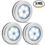 Nakhal Nachtlicht mit Bewegungsmelder (3 Stück, 6 LEDs), Auto Ein/Aus Nachtlicht Magnetisch und 3m klebend, LED Bewegungsmelder Licht, Batterie-Betrieb (nicht enthalten) Schrankleuchten (Silber)