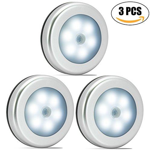 Nakhal Nachtlicht mit Bewegungsmelder (3 Stück, 6 LEDs), Auto Ein/Aus Nachtlicht Magnetisch und 3m klebend, LED Bewegungsmelder Licht, Batterie-Betrieb (nicht enthalten ) Schrankleuchten (Silber)