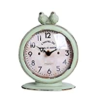 NIKKY HOME Shabby Chic Pewter Round Quartz Table Clock with 2 Birds, Light Green 12 x 6 x 15.5 cm