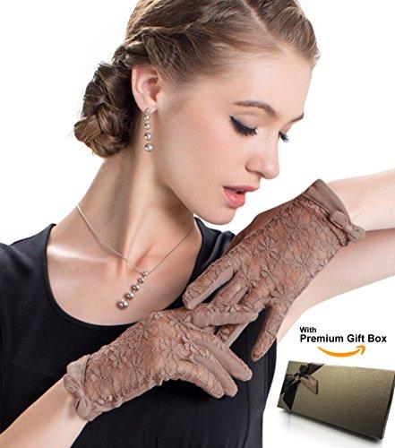 LAI&MENG Damen Baumwolle Und Spitze Sommer Sonnenschutz Handschuhe für Fahren,Proms,Abend,Party mit Marken-Geschenkbox (Prom Handschuhe)