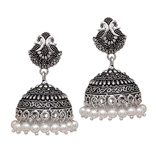 V L IMPEX 15 Grams Lovely Peacock oxidised Silver Plated Jhumka Jhumka Earring Jewellery For Girls