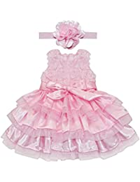 f039f0a97 YIZYIF Vestido Niña Rosa 2 Piezas De Bautizo Flor Vestido Para Bebé Niñas  Recién Nacidos 6
