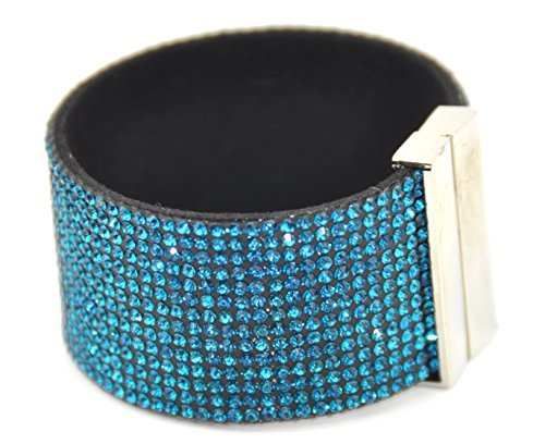 wide-wrap-rhinestone-bling-bracelet-band-magnetic-clasp-teal