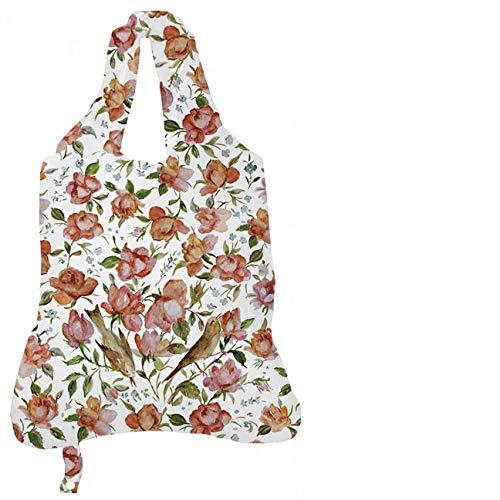 Persisch Blume (Rannenberg & Friends Einkaufstasche Persische Rosen, Einkaufstaschen Stofftasche Stofftaschen, Blumen Vogel Einkaufsbeutel)