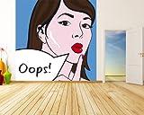 selbstklebende Fototapete - Pop-Art Oops Frau - 200x200 cm - Tapete mit Kleber – Wandtapete – Poster – Dekoration – Wandbild – Wandposter – Wand – Fotofolie – Bild – Wandbilder - Wanddeko