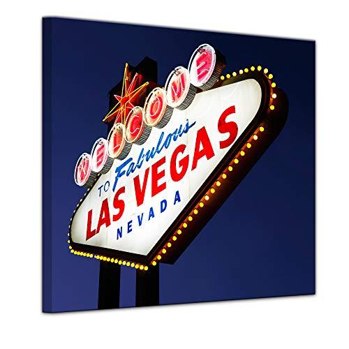 Wandbild - Las Vegas - Bild auf Leinwand - 40 x 40 cm - Leinwandbilder - Bilder als Leinwanddruck - Städte & Kulturen - Amerika - beleuchtetes Welcome Schild