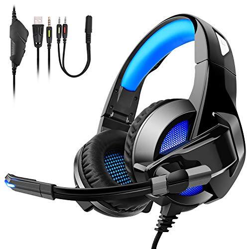 Auriculares Gaming para PS4, PC, Xbox One, Cómodos Cascos Gaming plegables con luces LED, calidad de sonido Premium Stereo y Bass Surround, micrófono con cancelación de ruido y control de volumen