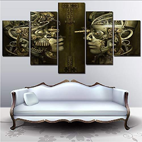 myvovo (Kein Rahmen) Artikel des Hauses Einrichtungsgegenstände Bild Moderne Wandkunst 5 Panel Biomechanik MenschenSurrealismus Poster Druck auf Leinwand Gemälde