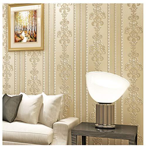 XIAHE Tapete Tapete Rolle Wandbild 3D Vertikale Streifen vlies Wasserdichte Wandaufkleber Dekoration (Farbe : Creme Farben)