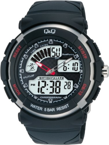 Q&Q M012-002 Men's Analog Digital Watch - Black Dial