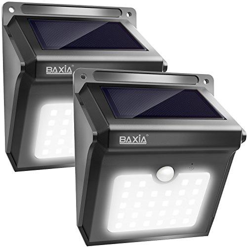 BAXiA Solarleuchten für Außen, 28 LED Solar Aussenleuchte mit Bewegungssensor Kabelloses Wasserdichte Sicherheitslicht für Gärten,Türe,Flur,Wege,Terrassen, Patio, Zaun(400 Lumen,2-Stück)