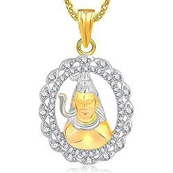 MEENAZ Jewellery Shiva Shankar Namah Shivay God Pendant for Men Girls Women Boys Children Unisex Pendants in American Diamond Cz Jewellery for Women Gold Plated - GP297