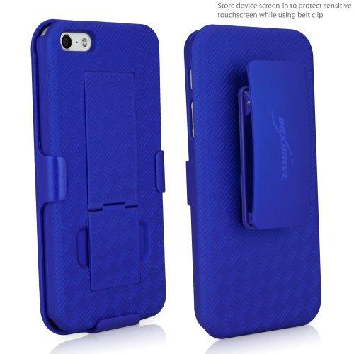 BoxWave + Apple iPhone 5s/5/5étui-3en 1Combo Comprend Clip avec clip ceinture et étui de protection et avec béquille intégrée Bleu (Super)