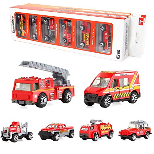 Proglam 6 Stück / 7 Stück Auto Kinder Traktor Geschenk Spielzeug Legierung Rollen Schiebevorn Auto Lernspielzeug Modell Geschenk Firetruck(6pcs)