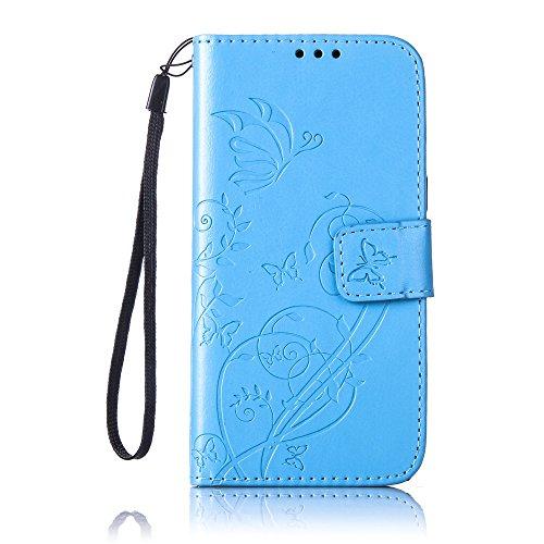 Prägen Blumen-Case, Magnetverschluss Synthetische PU-Leder-Kasten-Abdeckung mit hängenden Seil und Wallet-Funktion für Samsung J2 ( Color : Purple , Size : Samsung J2 ) Blue