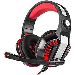 Garunk Casque de Jeu stéréo pour PS4, PC, Manette Xbox One, Microphone, lumière LED, Son Surround, écouteurs, Micro écouteurs, Suppression du Bruit Noir