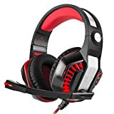 KSCAT GM-2 PC Gaming Headset 3.5mm Professional Bass Stereo Stylish Breathing LED Light Noise Isolation Over-ear Headphones with Good Mic Noise Cancelling & Volume for Computer Games (Red)