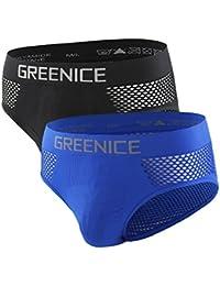 GreeNice Calzoncillo Slip de poliamida para hombre con transpirable diseño pack de 2